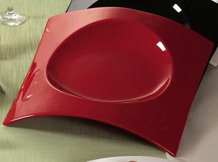 "CAC China FSB-21 RED Fashion Bridge Red Plate 12"" x 12 1/2"" x 2"""