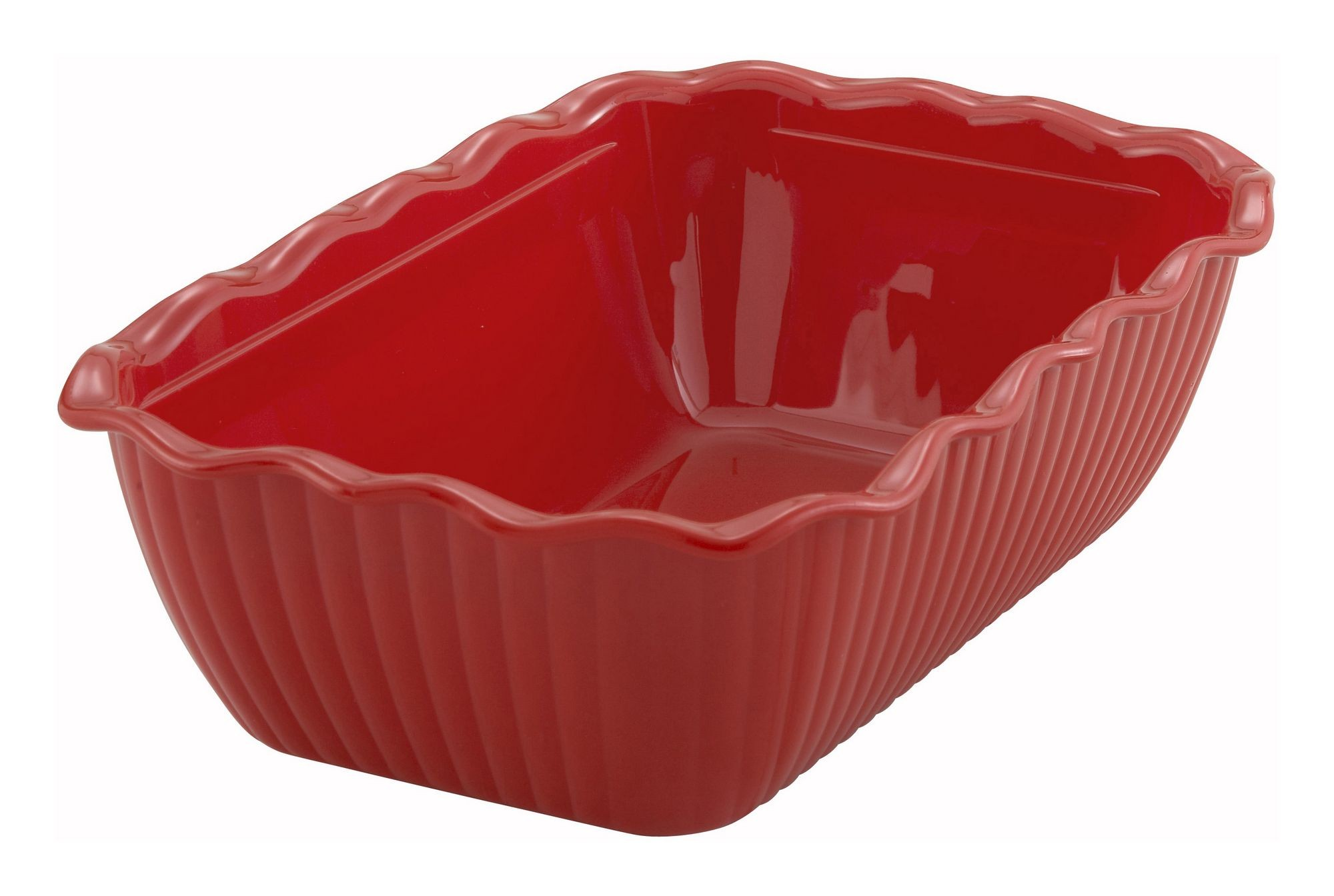 Red-Colored Deli Crock - 10 X 7 X 3 (Cover not included)