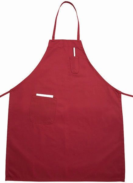 Winco BA-PRD Red Full Length Bib Apron with Pocket