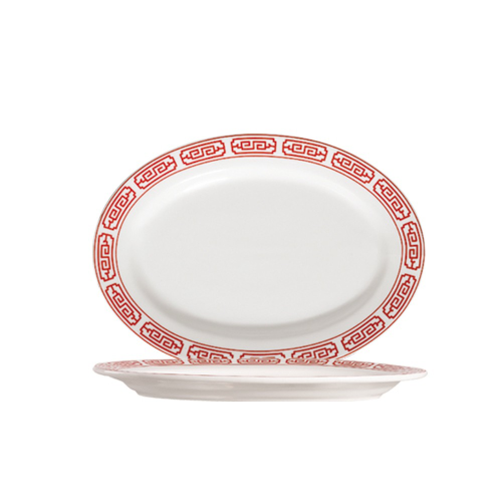 "CAC China 105-13 Red Gate 11-1/4"" Oval Platter"