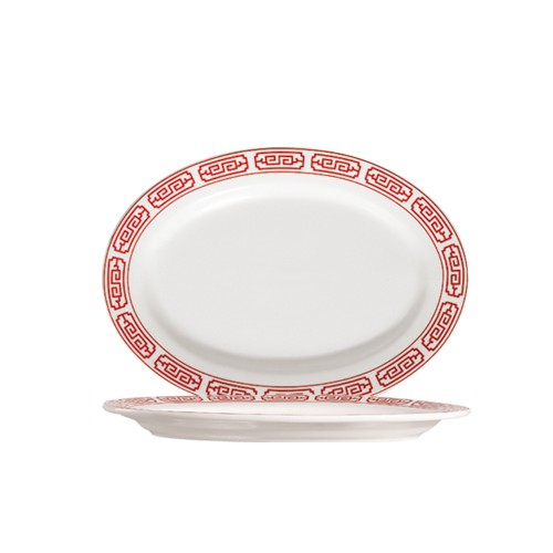 "CAC China 105-34 Red Gate 9-1/4"" Oval Platter"