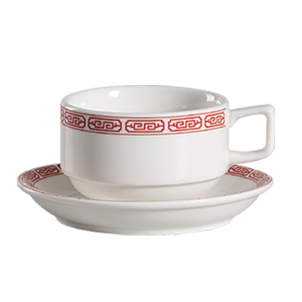CAC China 105-1-S Red Gate Stacking Cup 8 oz.