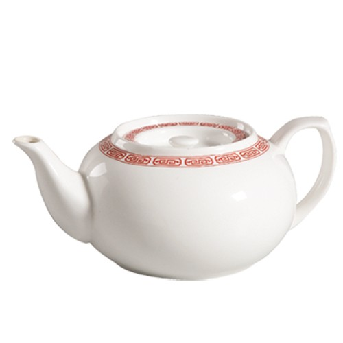 CAC China 105-TPW-2 Red Gate Tea Pot 32 oz.