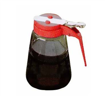 Red Glass 8 Oz. Syrup Dispenser With ABS Top