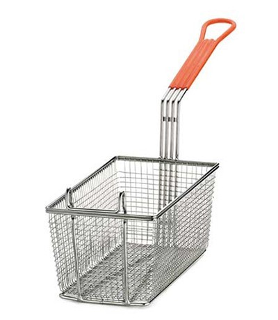 "TableCraft 43 Nickel-Plated Mesh Fry Basket with Red Handle, 12"" x 6-3/8"" x 5-1/4"""