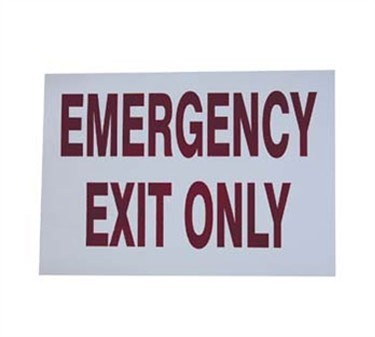 "Franklin Machine Products  280-1314 Red In White 'Emergency Exit Only' Sign 7"" x 10"""