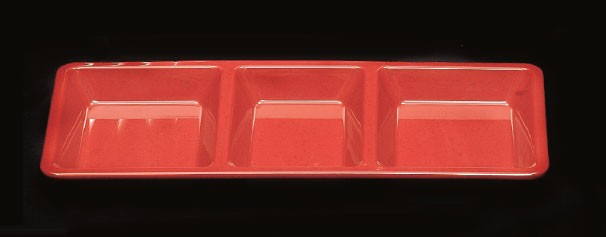 "Thunder Group PS5103RD Passion Red Melamine 3-Compartment Rectangular Tray 15"" x 6-1/4"""