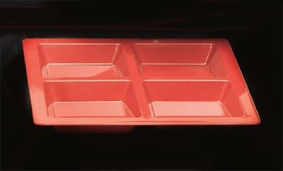 Thunder Group PS5104RD Passion Red Melamine 4-Compartment Square Tray 13-1/2""