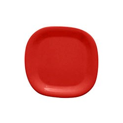 Red Melamine Rounded Square Plate - 8-1/4