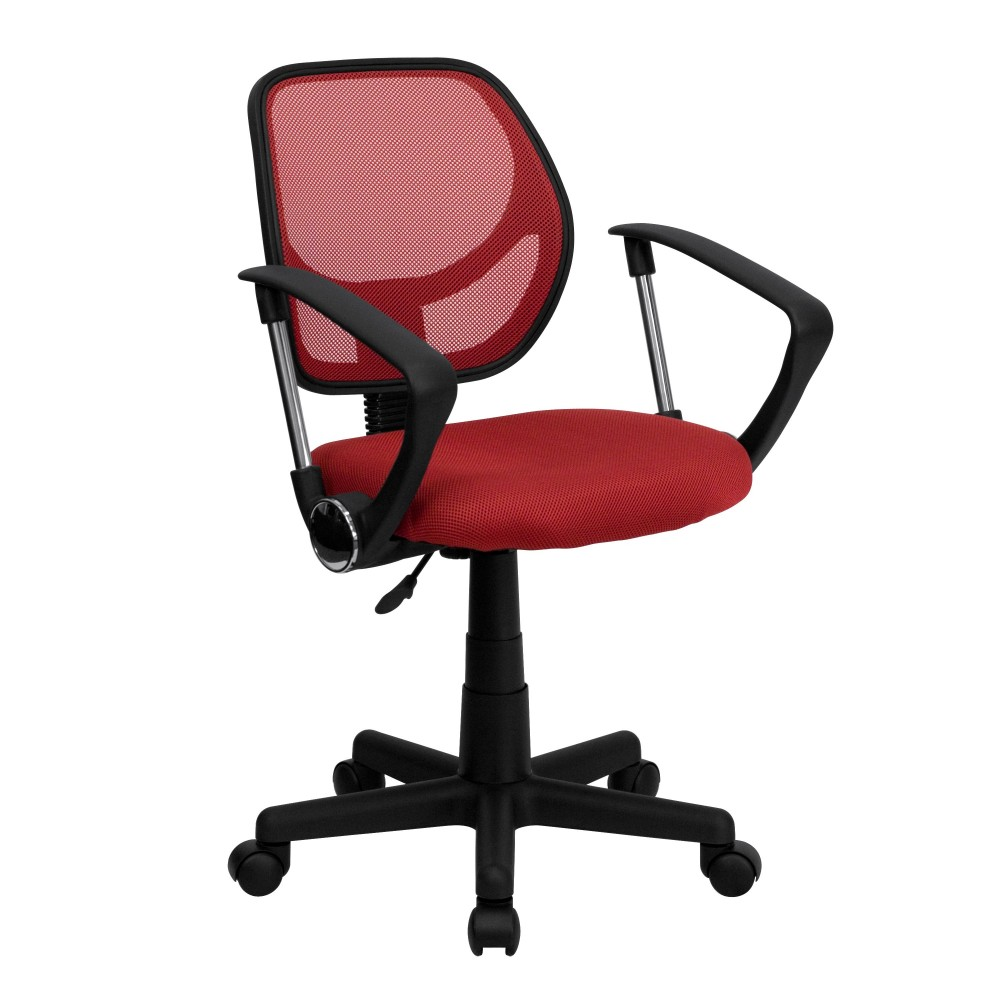 Flash Furniture WA-3074-RD-A-GG Red Mesh Computer Chair with Arms