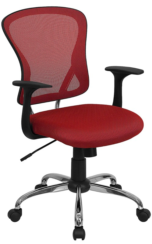 Flash Furniture H-8369F-RED-GG Mid-Back Red Mesh Executive Office Chair with Chrome Base and Arms