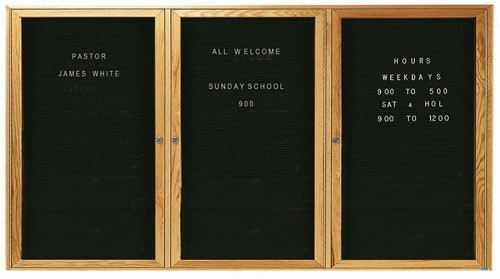 "Aarco Products ODC3672-3L Red Oak Enclosed Changeable Letter Board, 36""H x 72""W"