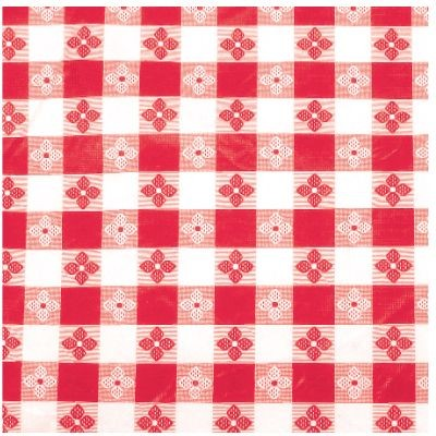 "Winco TBCO-90R Red Checkered Oblong Vinyl Table Cloth 52"" x 90"""