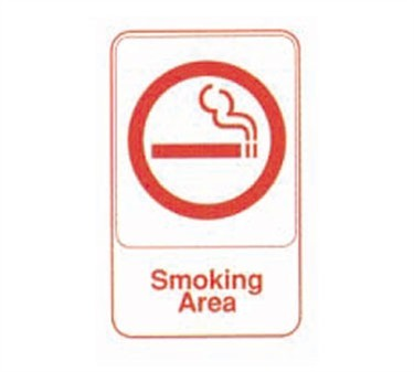 "TableCraft 695646 Smoking Area Sign, Red-On-Black 6"" x 9"""