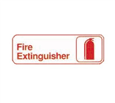 "TableCraft 394518 Fire Extinguisher Sign, Red-On-Sign, White 3"" x 9"""