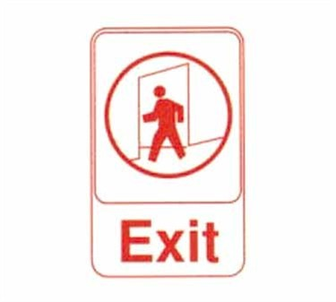 """TableCraft 695609 Exit Sign, Red-On-White 6"""" x 9"""""""