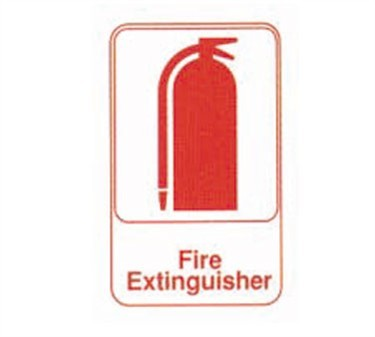 "TableCraft 695618 Fire Extinguisher Sign, Red-On-White 6"" x 9"""