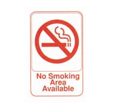 "TableCraft 695642 No Smoking Area Available Sign, Red-On-White 6"" x 9"""