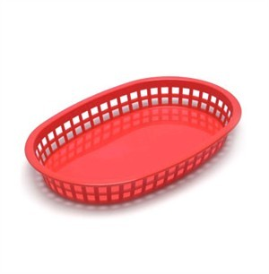 "TableCraft 1076R Red Plastic Oval Chicago Platter Basket 10-1/2"" x 7"" x 1-1/2"""