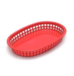 Red Oval Plastic Chicago Platter Basket - 10-1/2