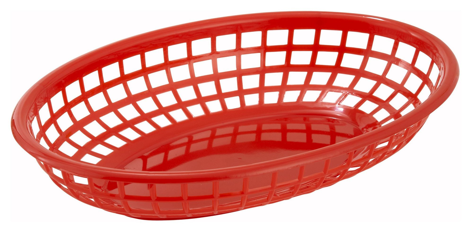 Red Oval Plastic Fast Food Basket - 9-1/2