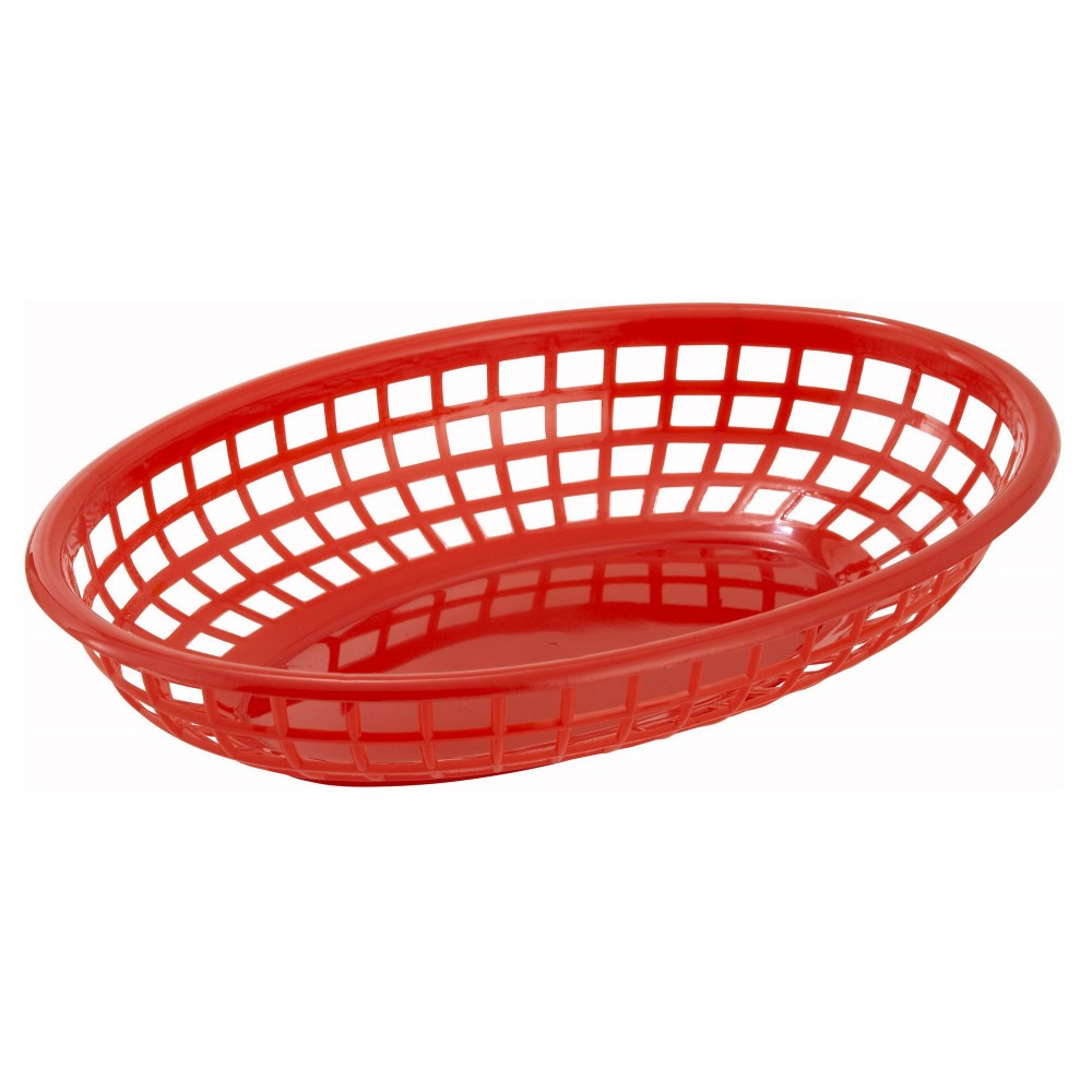 Winco PFB-10R Red Oval Plastic Fast Food Basket 9-1/2""