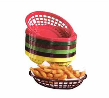 Red Oval Side Order Plastic Basket - 7-3/4