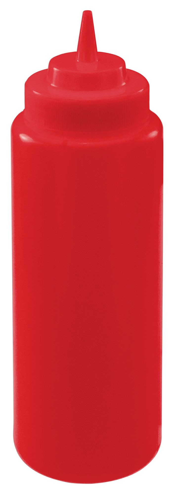 Winco PSW-32R Red Plastic 32 oz. Wide-Mouth Squeeze Bottle