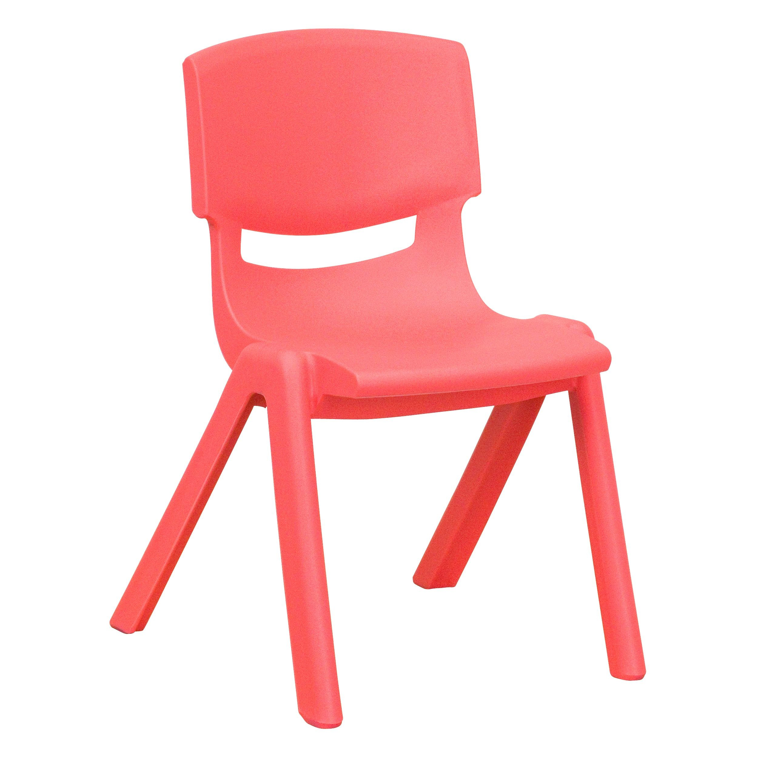 Red Plastic Stackable School Chair with 12'' Seat Height
