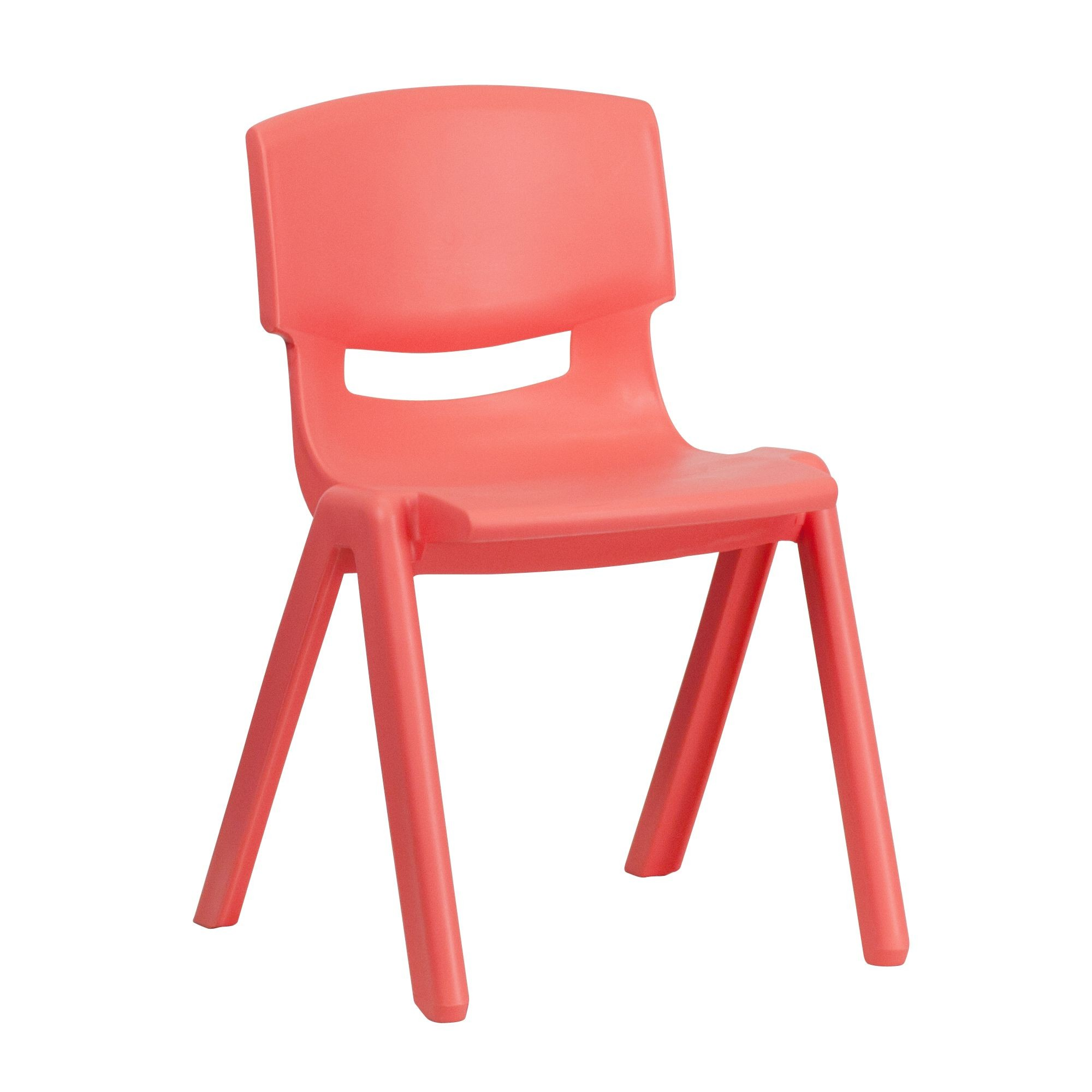 "Flash Furniture YU-YCX-004-RED-GG Red Plastic Stackable School Chair with 13.25"" Seat Height"