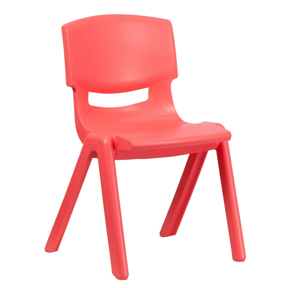 Red Plastic Stackable School Chair with 15.5'' Seat Height