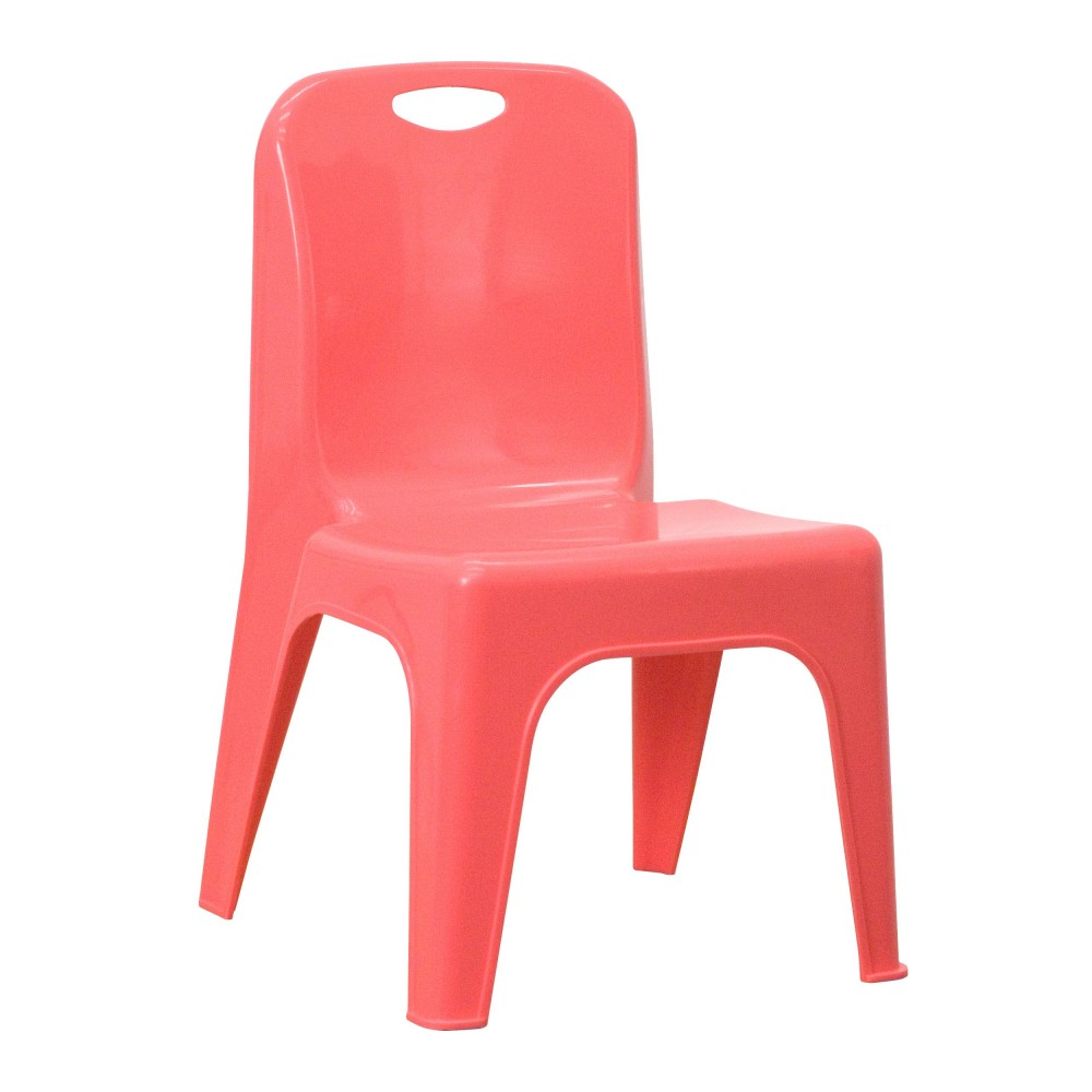 Flash Furniture YU-YCX-011-RED-GG Red Plastic Stackable School Chair with Carrying Handle and 11'' Seat Height