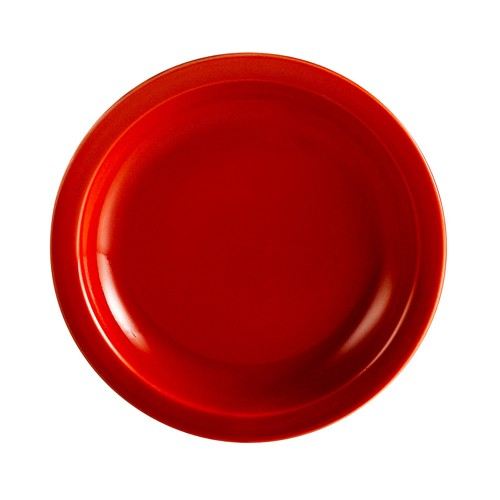 CAC China L-6NR-R Las Vegas Narrow Rim Red Plate 6 1/2""