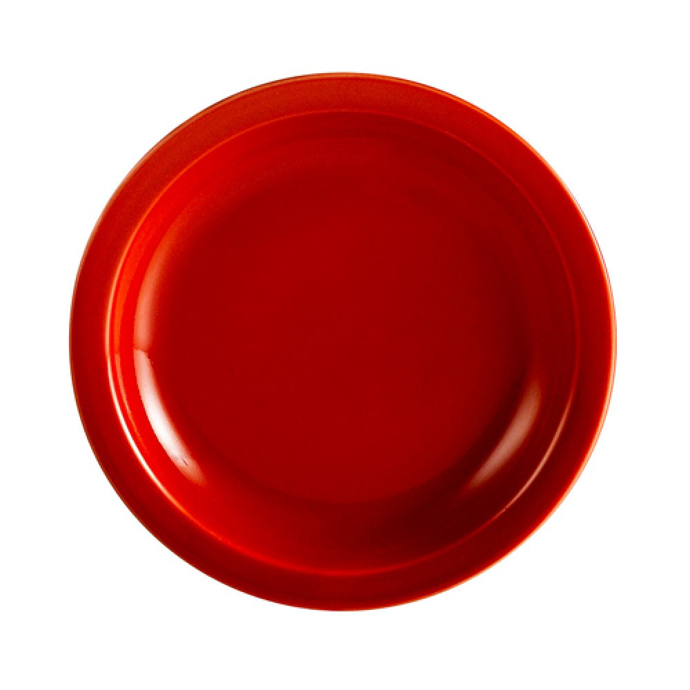 Red Plate, Narrow Rim, 7 1/4