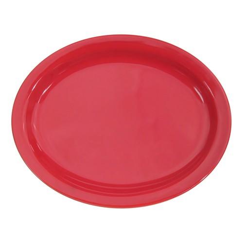 "CAC China L-12NR-R Las Vegas Narrow Rim Red Platter, 9 3/4"""
