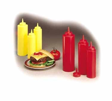 Red Polyethylene 8 Oz. Ketchup Standard-Tip Squeeze Bottle