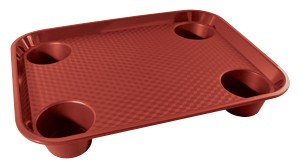 "G.E.T. Enterprises FT-20-R Red Polypropylene 17"" x 14"" Fast Food Tray/w 4-Holders"
