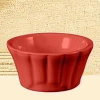 CAC China RMK-F3 -R Festiware Red Floral Ramekin 3 oz.