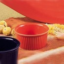 CAC China RKF-3 R Red Fluted Ramekin 3 oz.