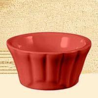 CAC China RMK-F4 -R Festiware Red Floral Ramekin 4 oz.