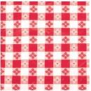 "Winco TBCS-52R Red Checkered Square Vinyl Table Cloth 52"" x 52"""