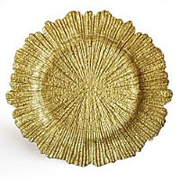 "Jay Import 1470110 Reef Gold 13"" Glass Charger Plate"