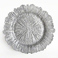"Jay Import 1470111 Reef Silver 13"" Glass Charger Plate"