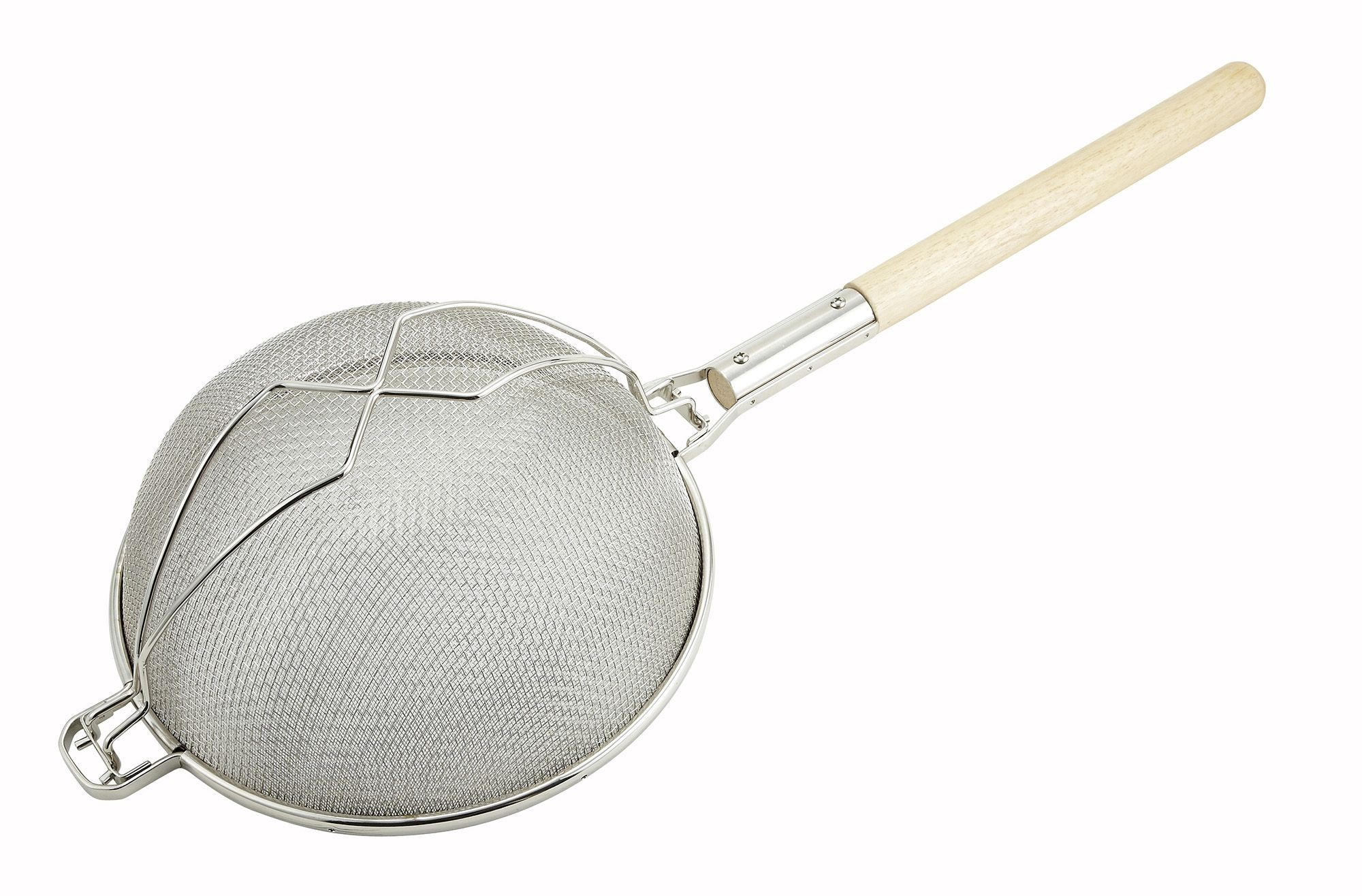 Winco MST-14D Reinforced Double Tinned Mesh Strainer with Wood Handle 14""