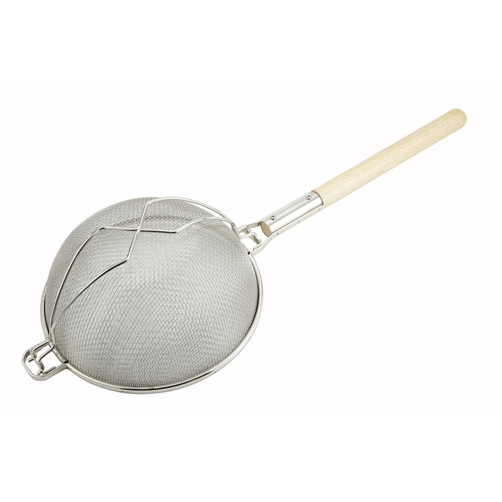 Winco MST-12D Reinforced Double Mesh Strainer with Wood Handle 12""