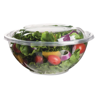 Renewable and Compostable Salad Bowls with Lids - 24 oz, 50/Pack, 3 Packs/Carton