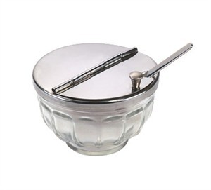 Retro-Hinged Glass Bowl With Stainless Steel Cover/Spoon