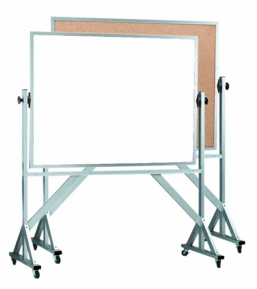 """Aarco Products WACB3648 Reversible Free Standing Aluminum Frame Melamine Marker board/Natural Cork, 48""""W x 36""""H"""