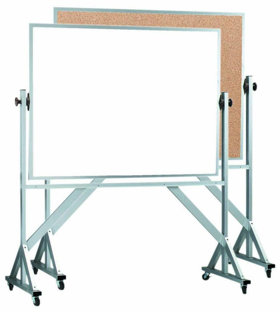 "Aarco Products WACB4260 Reversible Free Standing Aluminum Frame Melamine Marker board/Natural Cork, 60""W x 42""H"