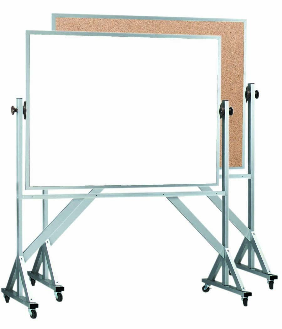 "Aarco Products WACB4872 Reversible Free Standing Aluminum Frame Melamine Marker board/Natural Cork, 72""W x 48""H"